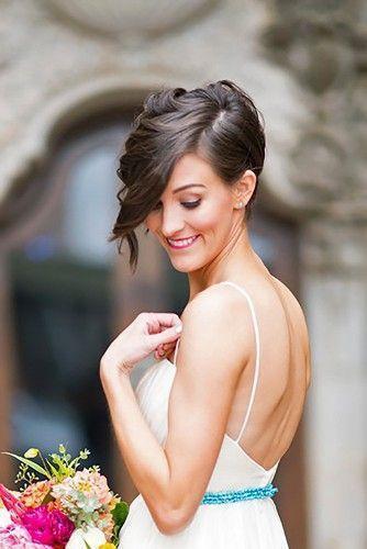 krótkie włosy ślubne